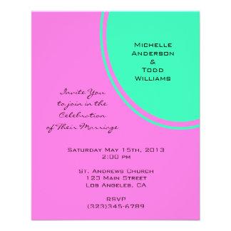Bright pink green modern circle wedding flyer