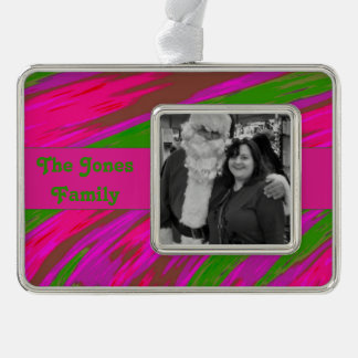 Bright Pink Green Modern Swish Abstract Ornament