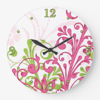 Bright Pink, Green, White Floral Wall Clock