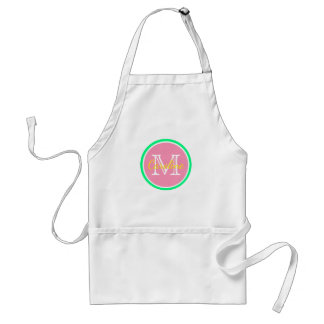 Bright Pink Green Yellow Monogram Adult Apron