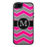 Bright Pink Grey, Black Chevron, Monogrammed Otterbox Iphone 5/5s/se Case at Zazzle