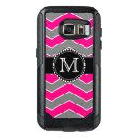 Bright Pink Grey, Black Chevron, Monogrammed Otterbox Samsung Galaxy S7 Case at Zazzle