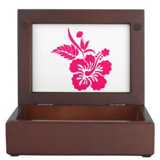 Bright Pink Hawaiian Flowers Memory Box