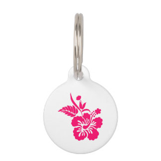 Pink white flower round pet tags pink white flower pet name tags bright pink hawaiian flowers pet tag mightylinksfo