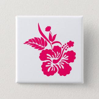 Bright Pink Hawaiian Flowers Pinback Button
