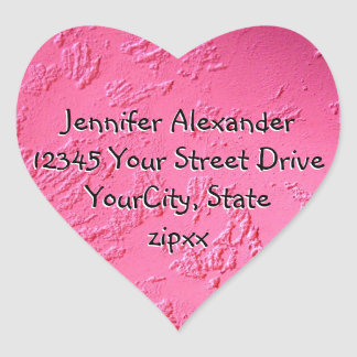 Bright Pink heart shaped address label