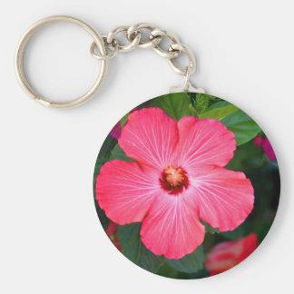 Bright Pink Hibiscus Basic Round Button Keychain