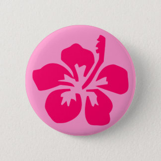Bright Pink Hibiscus Button