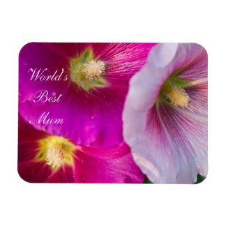 Bright Pink Hibiscus Flowers World's Best Mum Magnet