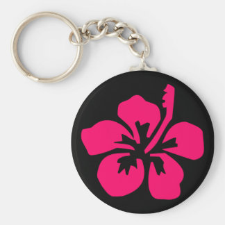 Bright Pink Hibiscus Keychain