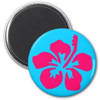 Bright Pink Hibiscus 2 Inch Round Magnet