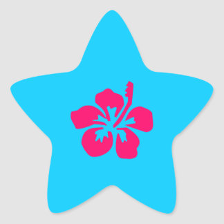 Bright Pink Hibiscus Star Sticker