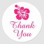 Bright Pink Hibiscus Thank You Classic Round Sticker