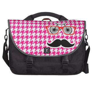Bright Pink Houndstooth.; Hipster Laptop Bags