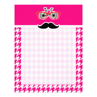 Bright Pink Houndstooth.; Hipster Customized Letterhead