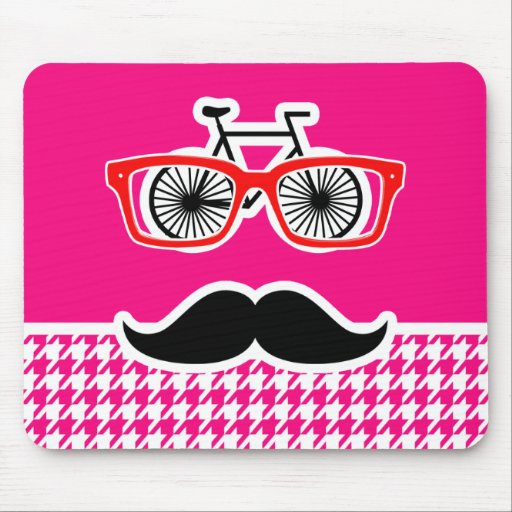 Bright Pink Houndstooth.; Hipster Mousepads