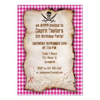 """Bright Pink Houndstooth; Jolly Roger Pirate 4.5"""" X 6.25"""" Invitation Card"""
