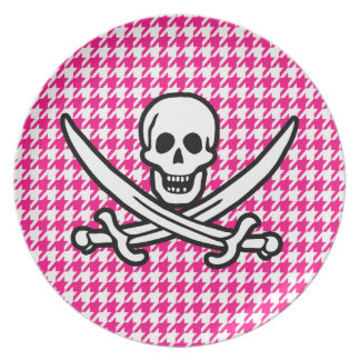 Bright Pink Houndstooth; Jolly Roger Pirate Plate