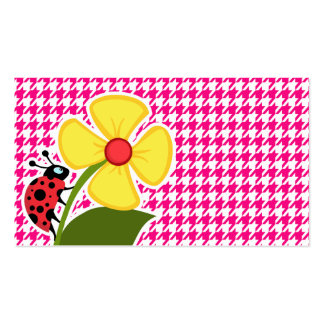 Bright Pink Houndstooth; Ladybug Double-Sided Standard Business Cards (Pack Of 100)