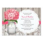 "Bright Pink Hydrangea Mason Jar Bridal Shower 5"" X 7"" Invitation Card"