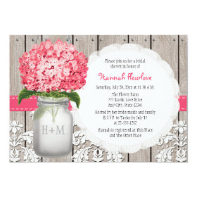 Bright Pink Hydrangea Mason Jar Bridal Shower 5x7 Paper Invitation Card