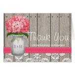 Bright Pink Hydrangea Monogram Mason Jar Thank You Card
