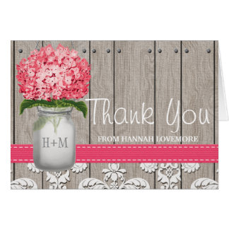 Bright Pink Hydrangea Monogram Mason Jar Thank You Card