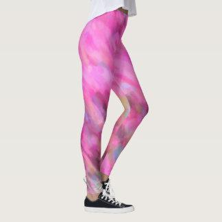 Bright Pink Impressionist Art Leggings