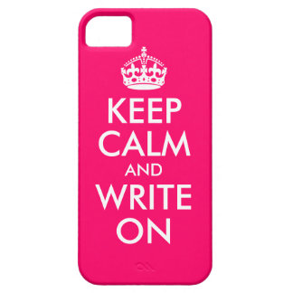 Bright Pink Keep Calm and Write On iPhone 5 Cases