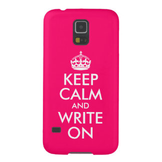 Bright Pink Keep Calm and Write On Case For Galaxy S5