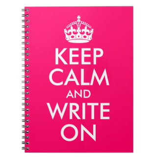 Bright Pink Keep Calm and Write On Notebook
