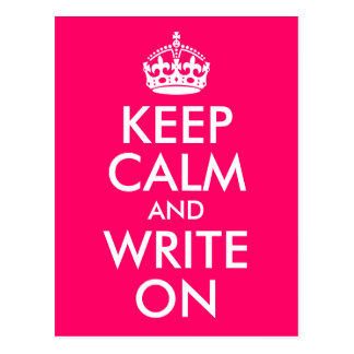 Bright Pink Keep Calm and Write On Postcard