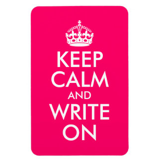 Bright Pink Keep Calm and Write On Rectangular Photo Magnet