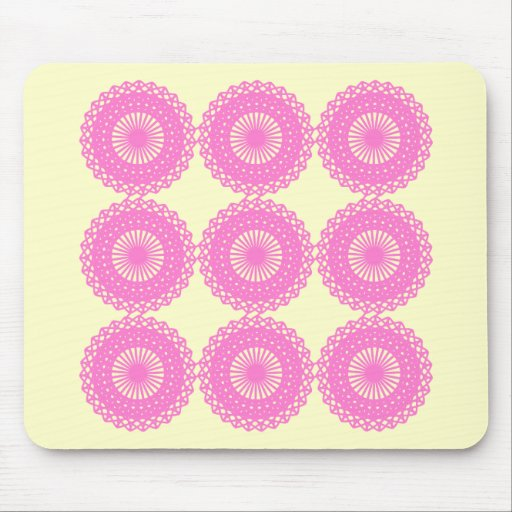 Bright Pink Lace Pattern Design. Mouse Pad