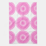 Bright Pink Lace Pattern Design. Towel