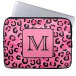 Bright Pink Leopard Print Custom Monogram. Computer Sleeve