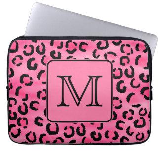 Bright Pink Leopard Print Custom Monogram. Laptop Computer Sleeve