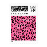 Bright Pink Leopard Print Pattern. Postage Stamps