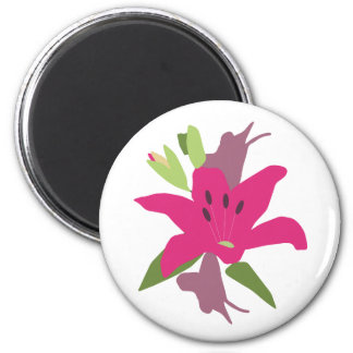 Bright Pink Lily 2 Inch Round Magnet