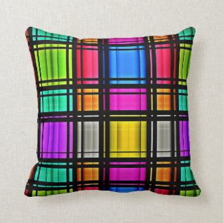 Bright Pink Lime Neon Abstract Plaid Pattern Throw Pillow