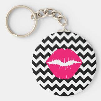 Bright Pink Lips on Black and White Zigzag Basic Round Button Keychain