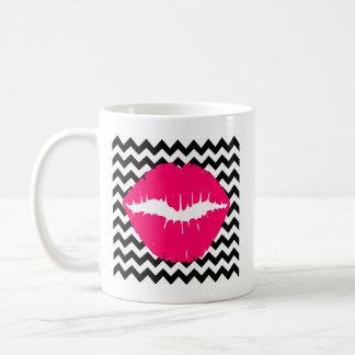 Bright Pink Lips on Black and White Zigzag Coffee Mug
