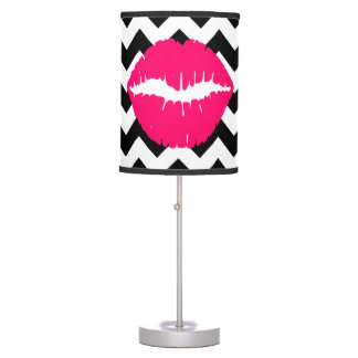 Bright Pink Lips on Black and White Zigzag Desk Lamp