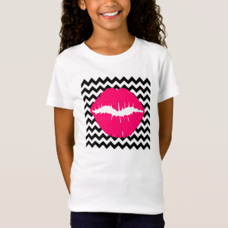 Bright Pink Lips on Black and White Zigzag T-Shirt