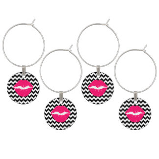 Bright Pink Lips on Black and White Zigzag Wine Charms