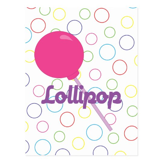 Bright Pink Lollipop Postcard