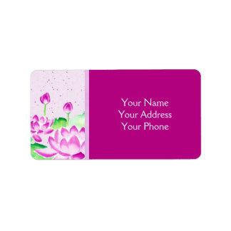 Bright Pink Lotus Watercolor Painting Washi Paper Label