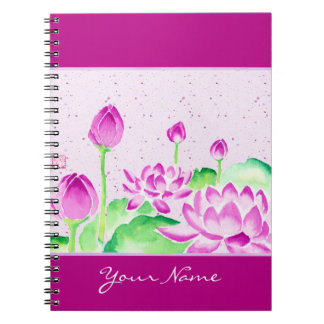 Bright Pink Lotus Watercolor Painting Washi Paper Spiral Notebooks