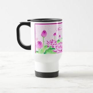Bright Pink Lotus Watercolor Painting Washi Paper Travel Mug