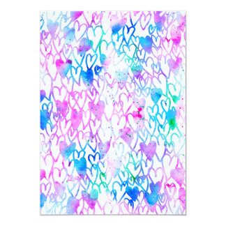 Bright pink love hearts watercolor hand drawn card